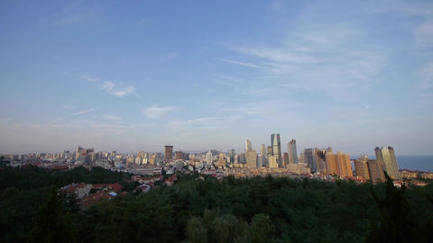 Overlooking urban skyline,china QingDao(tsingtao) Animation