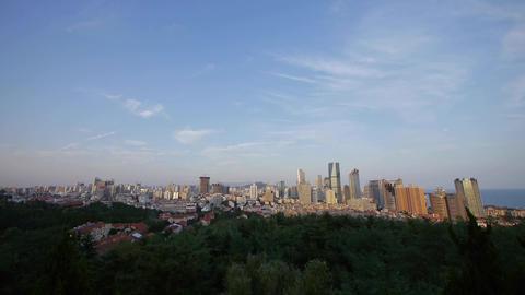 Overlooking urban skyline,china QingDao(tsingtao) Stock Video Footage