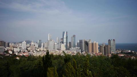 Overlooking urban & sea skyline,china QingDao(tsingtao) Animation