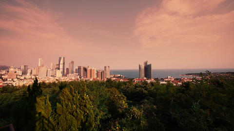 sunset glow of china urban skyline & sea,QingDao(tsingtao) Animation