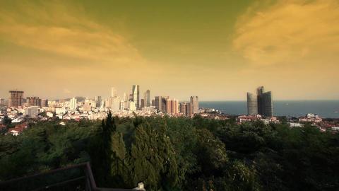 sunset glow of china urban skyline &... Stock Video Footage