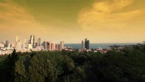 sunset glow of china urban skyline & sea,QingDao(tsingtao) Animation