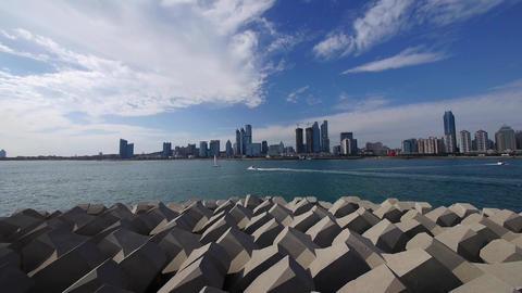 timelapse cloud,business building & sea skyline,busy... Stock Video Footage