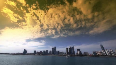 timelapse cloud,sunset business building & sea skyline,busy sailboat & y Animation