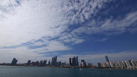 panoramic of cloudscape & urban skyline,sailboat... Stock Video Footage