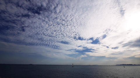 timelapse sailboat on sea,running cloud Animation