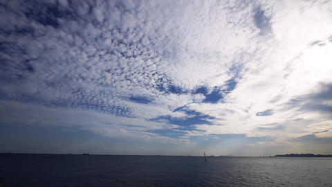 timelapse sailboat on sea,running cloud Stock Video Footage