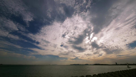 sailboat on sea,sunset clouds Stock Video Footage