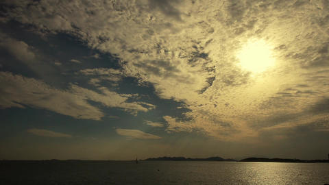 sunset clouds,sunlight reflect on sea skyline Animation