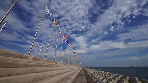 Many national flags fluttering in the wind against clouds skyline Animation