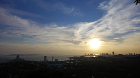 sunset seaside urban skyline & forest Stock Video Footage