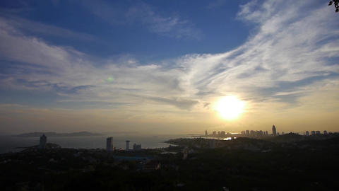 sunset seaside urban skyline & forest Stock Video Footage