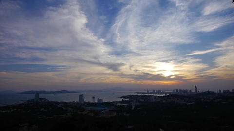 timelapse sunset clouds,seaside urban skyline & forest Stock Video Footage