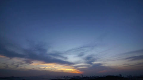timelapse sunset clouds,from day to night,seaside urban skyline & forest Animation