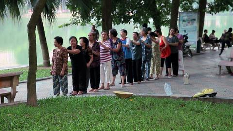 Hanoi - Morning exercise, Vietnam Stock Video Footage