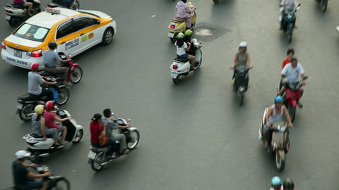 TRACKING HANOI TRAFFIC - HOAN KIEM DISTRICT stock footage