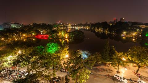 4k - HANOI HOAN KIEM LAKE - VIETNAM Stock Video Footage