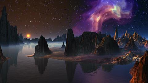 Moonrise and nebula Stock Video Footage