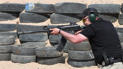 Kalashnikov shooting Stock Video Footage