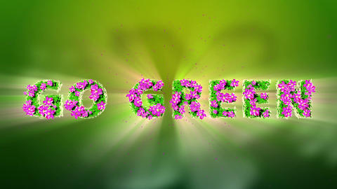 GO GREEN Text 3D Motion Graphics Stock Video Footage