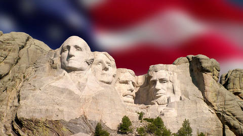 Mount Rushmore and American Flag Footage