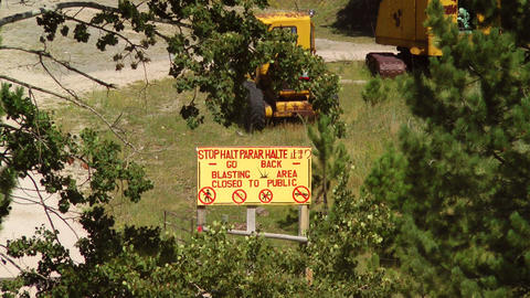 Blasting Area Sign Stock Video Footage