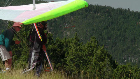 Hang Glider Prepares to Depart Stock Video Footage