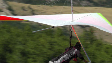 Hang Glider Prepares to Depart Footage