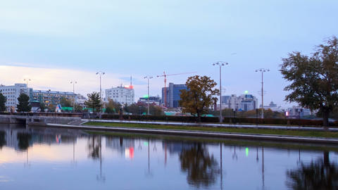 Sunrise on the waterfront. Ekaterinburg, Russia. T Footage