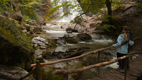 Waterfall, river, mountains, nature, people Stock Video Footage