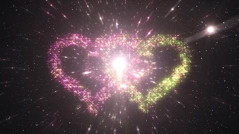 Space flash Heart Double c 2c HD Stock Video Footage