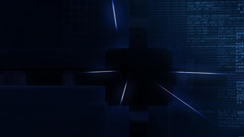 digital blue Cube hd Stock Video Footage