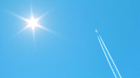 Jet Airplane Crosses The Sky Stock Video Footage
