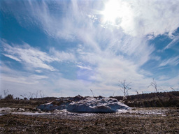 Pile of snow melts in the sun. Time Lapse. 4x3 Stock Video Footage