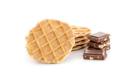Pile of sweet waffles and chocolate parts Stock Video Footage