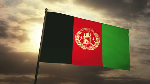 Flag afghanistan 03 Stock Video Footage