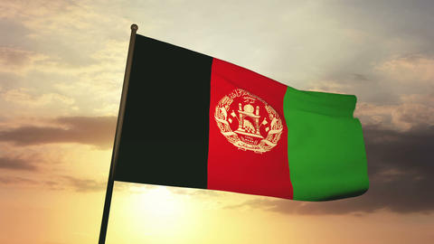 Flag afghanistan 03 Stock Video Footage