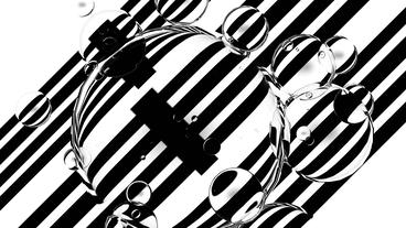 float water bubble against black & white stripe ba Stock Video Footage