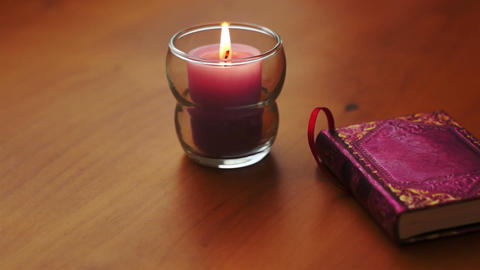 Romantic Book and Candle Dolly Stock Video Footage
