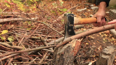 chopping firewood Footage