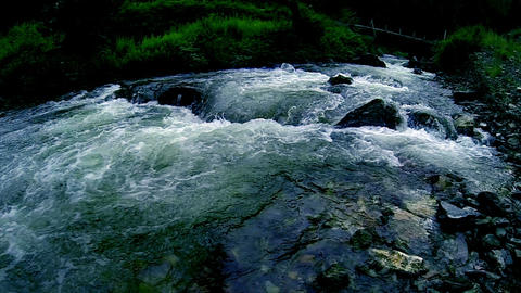 Dark Mountain River slow mo Stock Video Footage