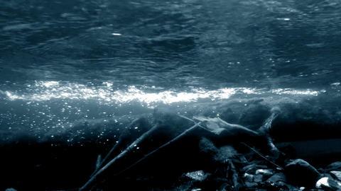 Dark river underwater shot Stock Video Footage