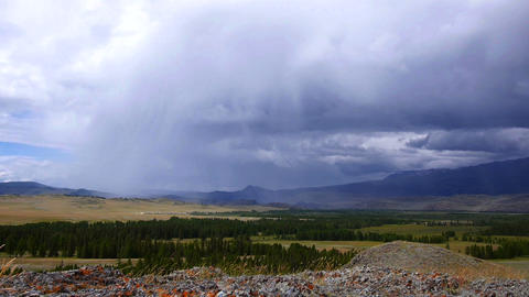 Rain storm in the steppe with sound Stock Video Footage