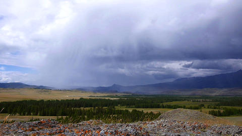 Rain storm in the steppe with sound Footage