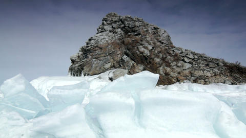 Rock in the ice Stock Video Footage