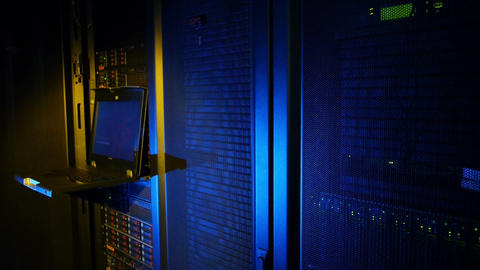 Scientific data center Servers front trail Stock Video Footage