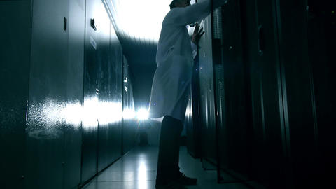 Scientist in data center Stock Video Footage