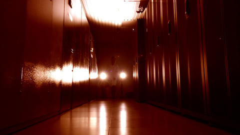 Scientist in data center in red Stock Video Footage
