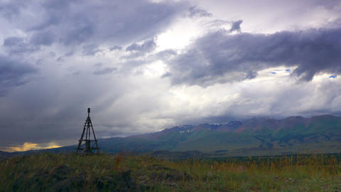 Time Lapse Mountain Landscape with Geodesic Tower Stock Video Footage