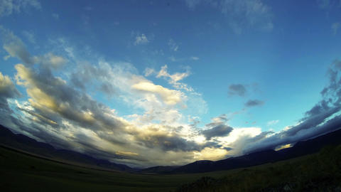 Time Lapse of Mountain Valley at Sunset Stock Video Footage
